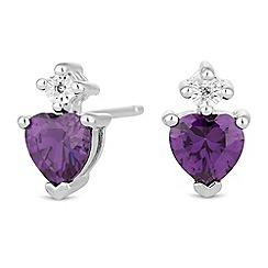 Simply Silver - Sterling silver heart stud earrings