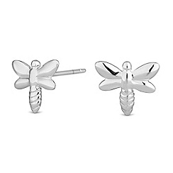 Simply Silver - Sterling silver dragonfly stud earrings