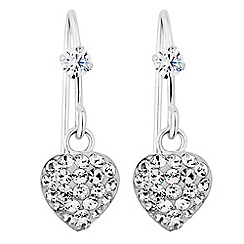Simply Silver - Sterling silver pave heart drop earrings