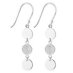 Simply Silver - Sterling silver filigree disc drop earrings