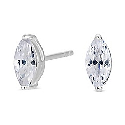 Simply Silver - Sterling silver marquise stud earrings