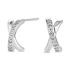 Simply Silver - Sterling silver cross over earrings