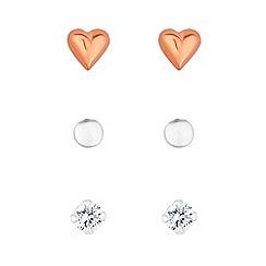 Simply Silver - Sterling silver heart stud earrings set