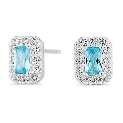 Simply Silver - Sterling silver aqua halo stud earrings
