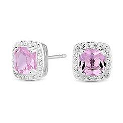 Simply Silver - Sterling silver halo stud earrings