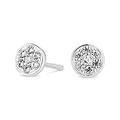 Simply Silver - Sterling silver pave stud earrings