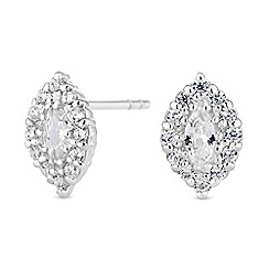 Simply Silver - Sterling silver marquise halo earrings
