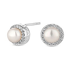 Simply Silver - Sterling silver pearl halo earrings