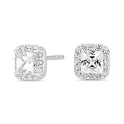 Simply Silver - Sterling silver square halo earrings