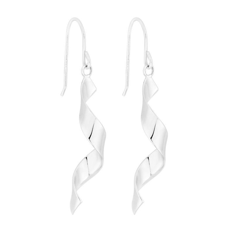 Simply Silver - Sterling Silver Ribbon Twist Drop Earrings