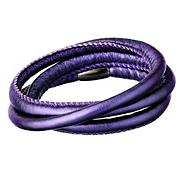 Purple faux leather triple wrap bracelet