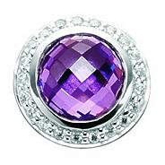 Sterling silver amethyst and cubic zirconia button charm