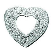 Sterling silver and pave cubic zirconia open heart charm
