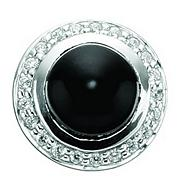 Sterling silver black onyx and cubic zirconia button charm