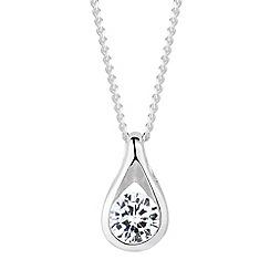 Simply Silver - Teardrop cubic zirconia pendant