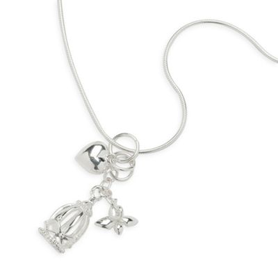 Sterling Silver Heart And Birdcage Charm Pendant