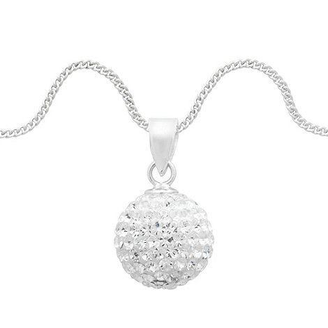 Simply Silver - Crystal pave ball pendant necklace
