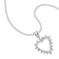 Simply Silver - Sterling silver cubic zirconia heart pendant necklace