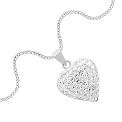 Simply Silver - Sterling silver pave crystal heart pendant