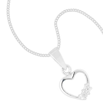 Double Cubic Zirconia Crystal Encased Open Heart Sterling Silver Necklace
