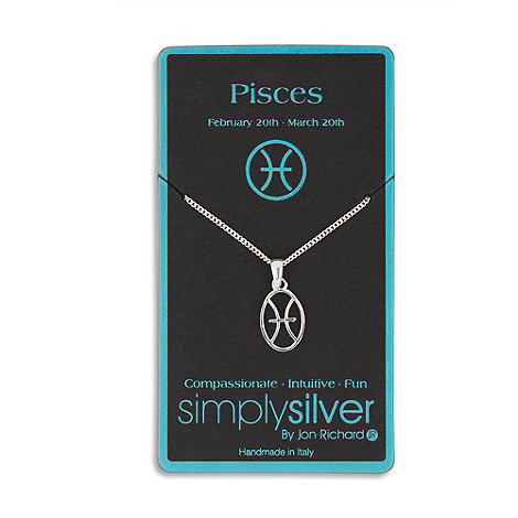 Simply Silver - Sterling silver pisces zodiac pendant necklace