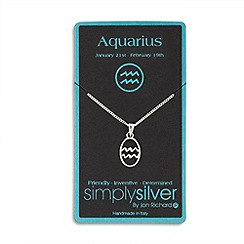 Simply Silver - Sterling silver aquarius zodiac pendant necklace