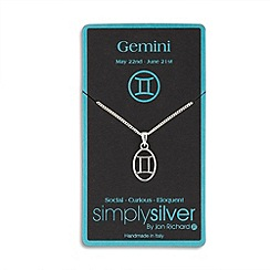 Simply Silver - Sterling silver gemini zodiac pendant necklace