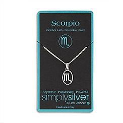 Simply Silver - Sterling silver scorpio zodiac pendant necklace