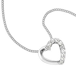 Simply Silver - Sterling silver and cubic zirconia pave heart pendant necklace