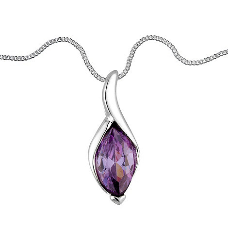 Simply Silver - Purple cubic zirconia marquis twist sterling silver pendant