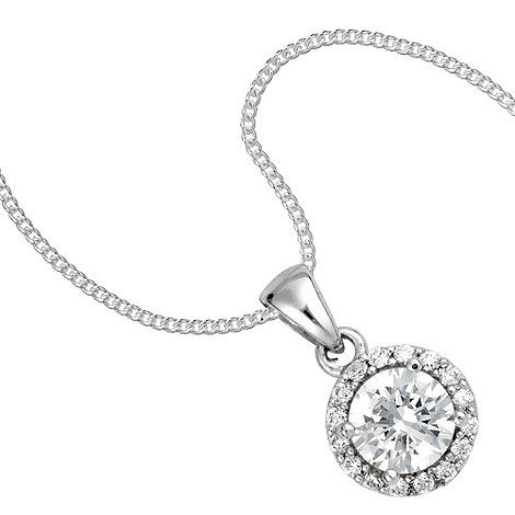 Simply Silver - Round cubic zirconia surround sterling silver pendant necklace