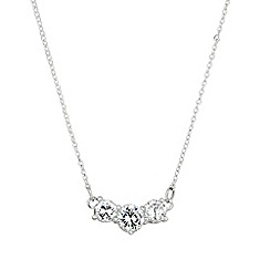 Simply Silver - Triple cubic zirconia solitaire stone sterling silver necklace