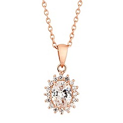Simply Silver - Rose gold plated cubic zirconia kate pendant necklace