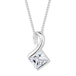 Simply Silver - Sterling silver cubic zirconia geometric loop pendant