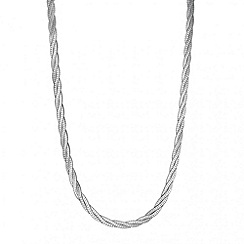 Simply Silver - Sterling silver twisted silver herringbone necklace