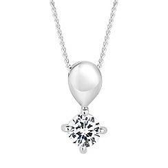 Simply Silver - Sterling silver teardrop cubic zirconia pendant