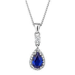 Simply Silver - Sterling silver blue peardrop pendant necklace