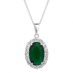 Simply Silver - Sterling silver green oval pendant necklace