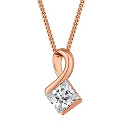 Simply Silver - Sterling silver rose gold geometric cubic zirconia pendant