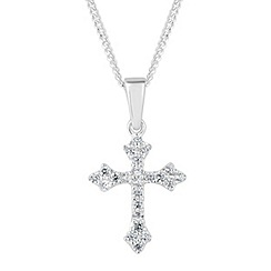 Simply Silver - Sterling silver cubic zirconia cross pendant