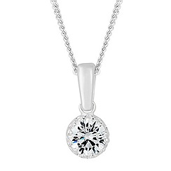 Simply Silver - Sterling silver round cubic zirconia pendant