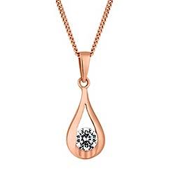 Simply Silver - Sterling silver rose gold cubic zirconia teardrop pendant