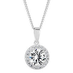 Simply Silver - Sterling silver cubic zirconia halo pendant