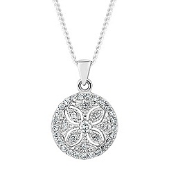 Simply Silver - Sterling silver pave filigree pendant