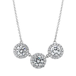 Simply Silver - Sterling silver halo trilogy necklace