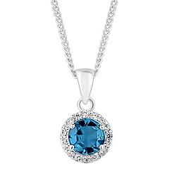 Simply Silver - Sterling silver aqua halo pendant