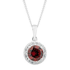 Simply Silver - Sterling silver red cubic zirconia round drop necklace