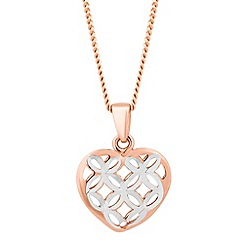 Simply Silver - Sterling silver two tone diamond cut heart necklace