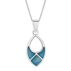 Simply Silver - Sterling silver blue mother of pearl cut out pendant