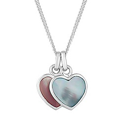 Simply Silver - Sterling silver mother of pearl hearts pendant